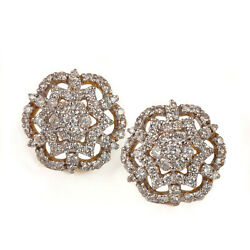 Natural Pave Diamond Floral Stud Earrings Solid 14k Yellow Gold Fine Jewelry New
