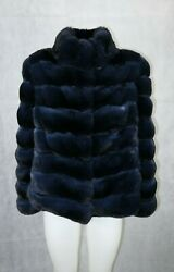 New Navy Blue Chinchilla Fur Top Quality Jacket Newest Model All Sizes Available