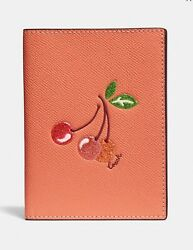 COACH Passport Holder Case With Cherry Design Card Slots Light Coral F68621