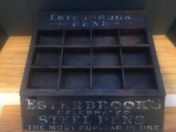 """Esterbrook's Pens Wooden Store Display Case For """"esterbrook's Steel Pens"""" 14"""" W."""