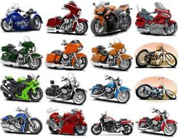 Motorcycle Peel And Stick Decals Qty 20 Assorted Mixed Bikes Wheels Chrome Engines