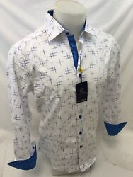 Mens SUSLO COUTURE WHITE BLUE ABSTRACT BUTTON UP Designer Shirt SLIM FIT SC60118