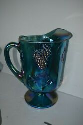 Indiana Carnival Glass Iridescent Green Harvest Blue Pitcher