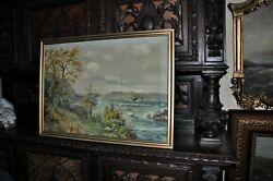 Antique California Painting Of Monterey By Elin Falk 1886 - 1975