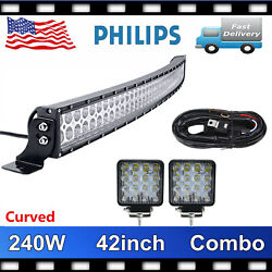 Curved 240w Combo Led Light Bar Combo And 4'' 48w Wiring Off Road Trailer 4x4 Ford
