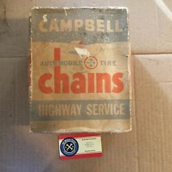 """Vintage Campbell Tire Snow Mud Chains 1210 Fits Certain 13 And 14 And 15"""" Sizes"""
