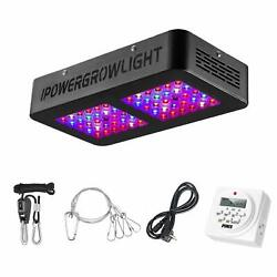 Ipower 300w Led Grow Light With Timer And Rope Full Spectrum For Indoor Plants Veg