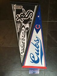Chicago Cubs And White Sox Champions Pennant 12x30 Full Size Lot Of 2