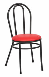 Two Red Bistro Chair 35 Tall Heavy Duty Welded Black Steel Frame Red Cushion