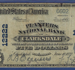 Ms 1902 5 ♚♚clarksdale Mississippi♚♚ Pmg Ch Fine 15 Rare Note