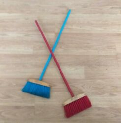 Vintage Child's Toy Brooms Little Lady Primitive Country Kitchen Red Blue 2 Usa