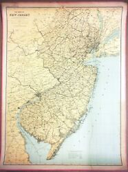 Large 3-ft Linen-backed Original Antique Map New Jersey, 1888