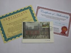 Hand Signed L.s. Lowry Coming Out Of School Postcard. Stamp Dated July 1967