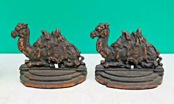 Egyptian Revival Antique 1920s Judd Mfg Bronzed Cast Iron Camel Bookends