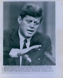 1962 President Kennedy Gestures During Conference Wire Photo