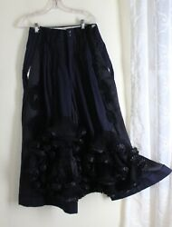 New Comme Des Garcons -sz M Wild Ruffled Flared Culotte Skirt Trousers Art-wear