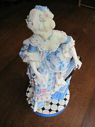 Antique Vion And Baury Victorian Court Lady Old Paris Hp Biscuit Figurine 19thc