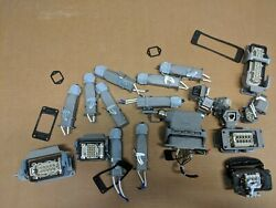 Lot Of Harting Couplers/contacts, Pin Plugs, Right Angle Connectors, Male/female