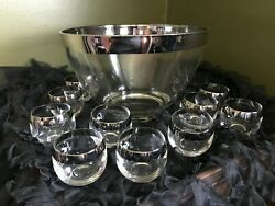 Dorothy Thorpe Roly Polys Punch Bowl Silver Rimmed Punch Bowl Set Of 11 Vintage