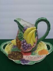 2 -pc 1988 Fitz And Floyd Tropical Fruit Calypso Pitcher 1.75 Qt And Serving Platter
