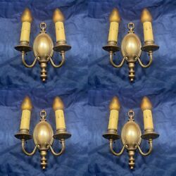 Four 4 Early Antique Brass Double Candle Wall Sconces W/ Pull Chain Switches 71b