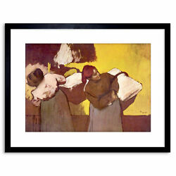 Painting Degas Two Washer Women Old Master Framed Picture Art Print 9x7 Inch