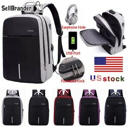 Mens Womens Digit Anti-Theft Lock USB Charging Laptop Backpack Travel School Bag