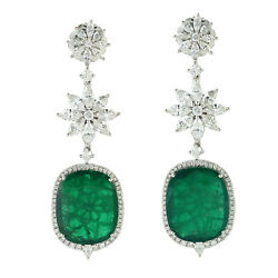 Christmas Sale 25.4ct Natural Emerald Dangle Earrings 18k White Gold Jewelry