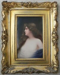 19th C Framed German Portrait on porcelain of Sensual Young Woman by Wagner.