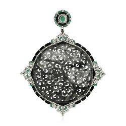 61.7ct Carved Jade And Diamond Emerald Pendant 18k Gold 925 Silver Jewelry Gift