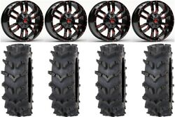 Fuel Sledge Red 20 Wheels 35 Outback Max'd Tires Can-am Commander Maverick