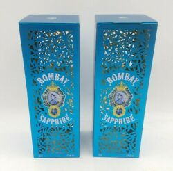 2 Pc Bombay Sapphire Gin Metal Tin Box Base Cut Out Design Packaging Blue Used
