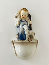 Vtg Hummel Child With Lambs 35/0 Wall Mount Holy Water Decorative Font Signed