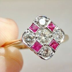 Stunning Vintage Art Deco 18ct Gold Ruby And Diamond 0.65ct Cluster Ring C1935