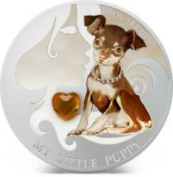 Fiji 2013 Dogs And Cats Toy Terrier 2 Silver Proof Coin With Crystal Low Coa