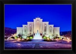 Albuquerque New Mexico Temple, Front Black Framed Wall Art Print, New Mexico