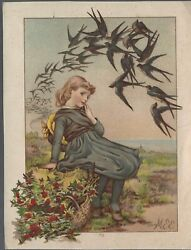 1880 Thought The Meadows- Illustrator Mary Ellen Edwards Signed Print -