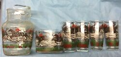 Fox Hunt Hunting 6 Piece Ice Bucket And Pitcher With Ice Tea Glasses