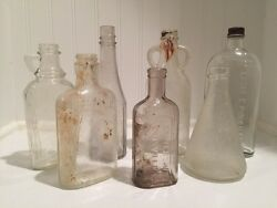 Industrial Glass Apothecary Medicine Food Bottles Lot Of 7 Vintage Antique