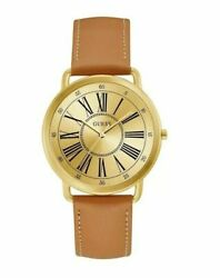 Guess 40mm Women's Kennedy Watch W1068l4 Tan Strap And Gold Dial