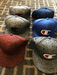 Lot Of 6 Champion Designer Baseball Caps Gray Blue Red Pre-Owned