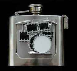 DRUM SET FLASK BELT BUCKLE STAINLESS AND PEWTER US MADE NEW!