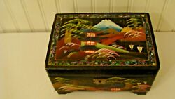 Vintage Asian Wood Lacquer Abalone Shell Jewelry Box, Amazing Details Inside