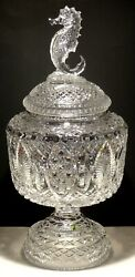 RARE WATERFORD CRYSTAL MASTER CUTTER HUGE FOOTED URN BOWL wLID 22