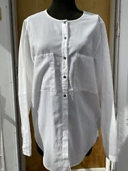 Pomandere Italian Cotton Top Blouse Button Up Designer Tunic Shirt Sz 42US 6