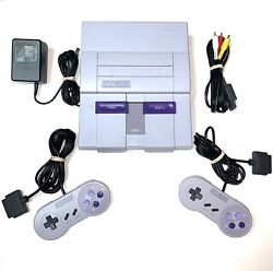 Super Nintendo Snes System Console With 2 Oem Controllers Authentic And Clean