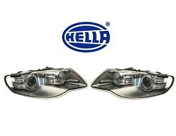 Pair Set Of 2 Front Xenon Headlights Lamps Hella For Volkswagen Touareg 08-10
