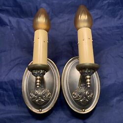 Antique Brass Wall Sconces Electric Candles Original Finish Rewired 46d
