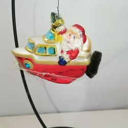 Mercury Glass Santa In Yacht With Brush Bottle Tree And Wreath