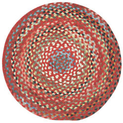 Capel Rugs St. Johnsbury Wool Double Braid Country Red Round Braided Rug